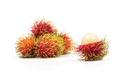 Fresh Rambutan from Rayong Thailand isolated on white background Stock Photo