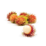 Fresh Rambutan from Rayong Thailand isolated on white background. Sweet delicious fruit Stock Photography