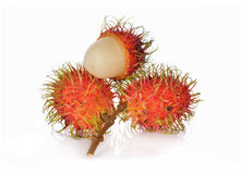 Fresh rambutan with stem on white. Background Stock Photo