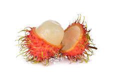 Fresh rambutan with stem on white. Background Stock Images