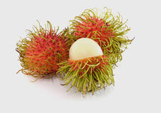 Fresh rambutan sweet delicious fruit of Thailand. Isolated on white background Royalty Free Stock Photos