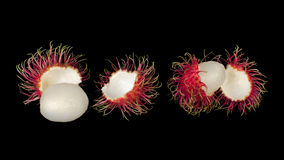 Fresh rambutan. Sweet and delicious fresh rambutan, isolated on black background Royalty Free Stock Images