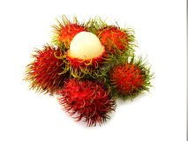 Fresh rambutan sweet delicious on white backdrop. Fresh rambutan sweet delicious on white background healthy rambutan tropical fruit food isolated Stock Photo