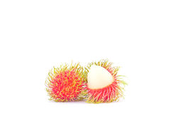 Fresh rambutan sweet delicious on white background healthy rambutan tropical fruit food  Royalty Free Stock Image