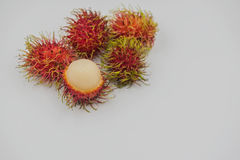 Fresh rambutan sweet delicious on the white background. tropical fruit.  Stock Image