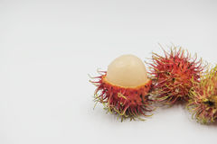 Fresh rambutan sweet delicious on the white background. tropical fruit.  Stock Photos