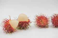 Fresh rambutan sweet delicious on the white background. tropical fruit.  Stock Photo