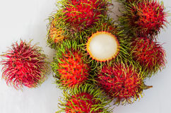 Fresh rambutan in the Thai market Royalty Free Stock Images