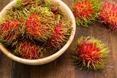 Fresh rambutan, tropical fruit.  Royalty Free Stock Photo