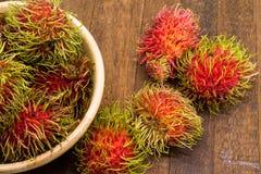 Fresh rambutan, tropical fruit.  Stock Photos
