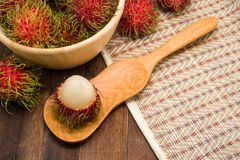 Fresh rambutan, tropical fruit.  Royalty Free Stock Photos