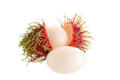 Fresh rambutan tropical fruit isolated on a white background.  Royalty Free Stock Photos