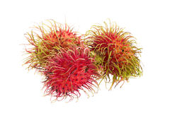 Fresh rambutan tropical fruit isolated on a white background.  Royalty Free Stock Image