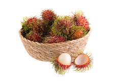 Fresh rambutan tropical fruit isolated on a white background.  Royalty Free Stock Photography
