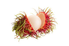 Fresh rambutan tropical fruit isolated on a white background.  Royalty Free Stock Images