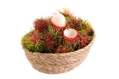 Fresh rambutan tropical fruit isolated on a white background.  Stock Images