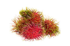 Fresh rambutan tropical fruit isolated on a white background.  Stock Image