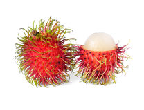 Fresh rambutan. On white Royalty Free Stock Photos