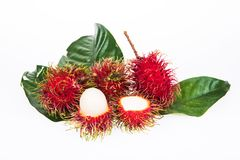 Fresh rambutan. On the white background Stock Photos