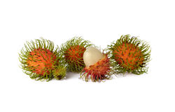 Fresh rambutan on white. Background Stock Photography