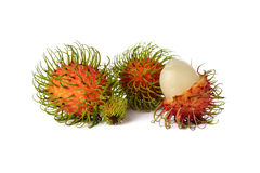 Fresh rambutan on white. Background Royalty Free Stock Images