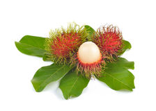 Fresh rambutan on white background. Fresh rambutan on a  white background Royalty Free Stock Images