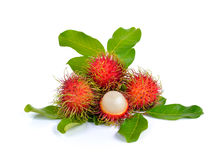 Fresh rambutan on white background. Fresh rambutan on a white background Royalty Free Stock Photography