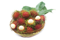 Fresh Rambutan. On white background Royalty Free Stock Photo
