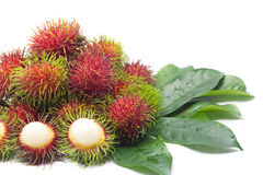 Fresh Rambutan. On white background Stock Image