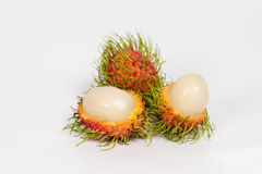 Fresh rambutan on white. Fresh rambutan  on white background Stock Images