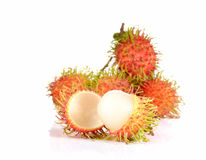 Fresh rambutan on white background. Fresh rambutan isolated on white background Stock Image