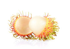 Fresh rambutan on white background. Fresh rambutan isolated on white background Royalty Free Stock Images