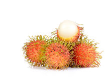 Fresh rambutan on white background. Fresh rambutan isolated on white background Royalty Free Stock Image