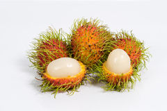 Fresh rambutan on white. Fresh rambutan isolated on white background Stock Image
