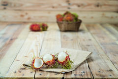 Fresh rambutan. In wooden Basket Stock Photography