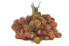 Fresh rambutans on white background.  Stock Photo