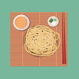 Fresh Ramen noodles. On sushi mat with chopstricks Stock Photo