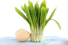 Fresh ramson. Bouquet from fresh ramson with the eggs Stock Image