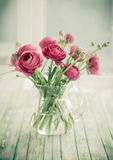 Fresh ranunculus. Bouquet of pink ranunculus. Vintage style Stock Photography