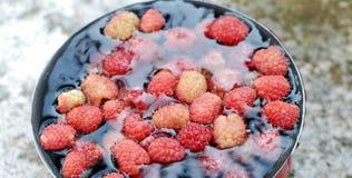 Fresh raspberies in a saucepan Stock Photos