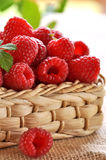 Fresh raspberries in the basket. Fresh raspberries in a basket on the fabric of jute Royalty Free Stock Image