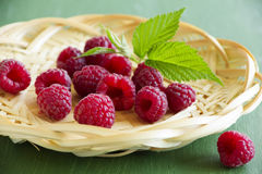 Fresh raspberries. In the basket Royalty Free Stock Image