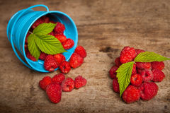 Fresh raspberries. In a basket over white background Royalty Free Stock Image