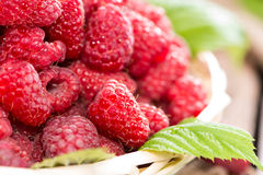 Fresh Raspberries in a basket Royalty Free Stock Photography