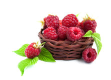 Fresh raspberries in the basket. On a white background Stock Photography