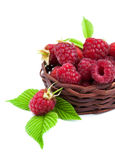 Fresh raspberries in the basket. On a white background Stock Photo
