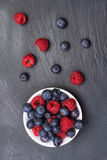 Fresh raspberries  and bilberry berries. Scattered on black background.Top view Stock Photography
