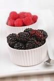 Fresh raspberries and blackberries. Ready for eating Royalty Free Stock Image