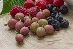 Fresh raspberries,  blackberries and gooseberry.  Royalty Free Stock Image