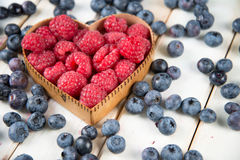 Red raspberries with scattered blueberries. Fresh blueberries scattered around a heart shaped wooden container filled with red raspberries Stock Images